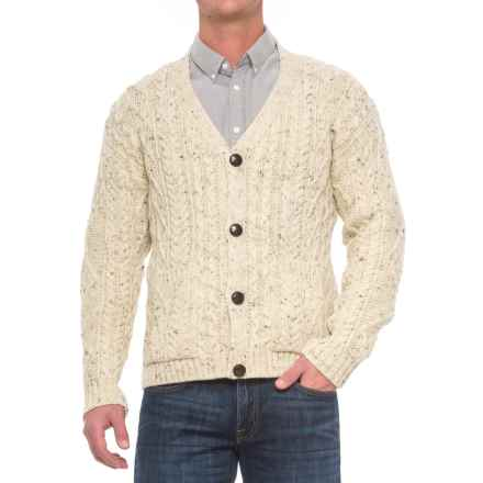 Peregrine by J.G. Glover Aran V-Neck Cardigan Sweater - Wool (For Men) in Aran Nep - Closeouts