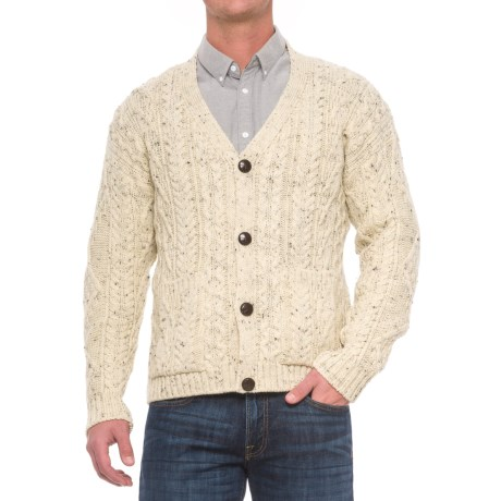Peregrine by J.G. Glover Aran V-Neck Cardigan Sweater - Wool (For Men) in Aran Nep