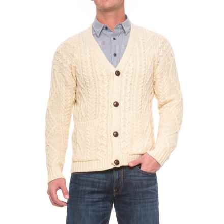 Peregrine by J.G. Glover Aran V-Neck Cardigan Sweater - Wool (For Men) in Ecru - Closeouts