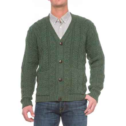 Peregrine by J.G. Glover Aran V-Neck Cardigan Sweater - Wool (For Men) in Moss - Closeouts