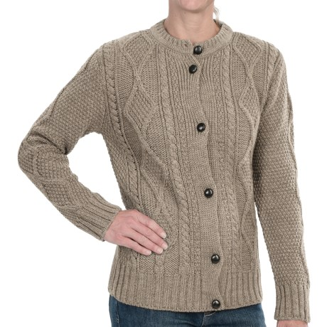 Peregrine by J.G. Glover Cable Cardigan Sweater - Merino Wool (For Women) in Beige