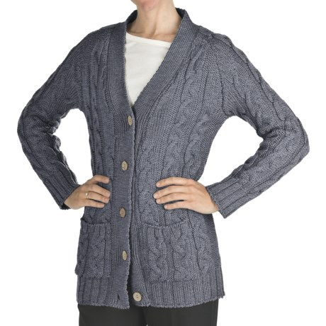 Peregrine by J.G. Glover Cable Cardigan Sweater - Peruvian Merino Wool (For Women) in Denim