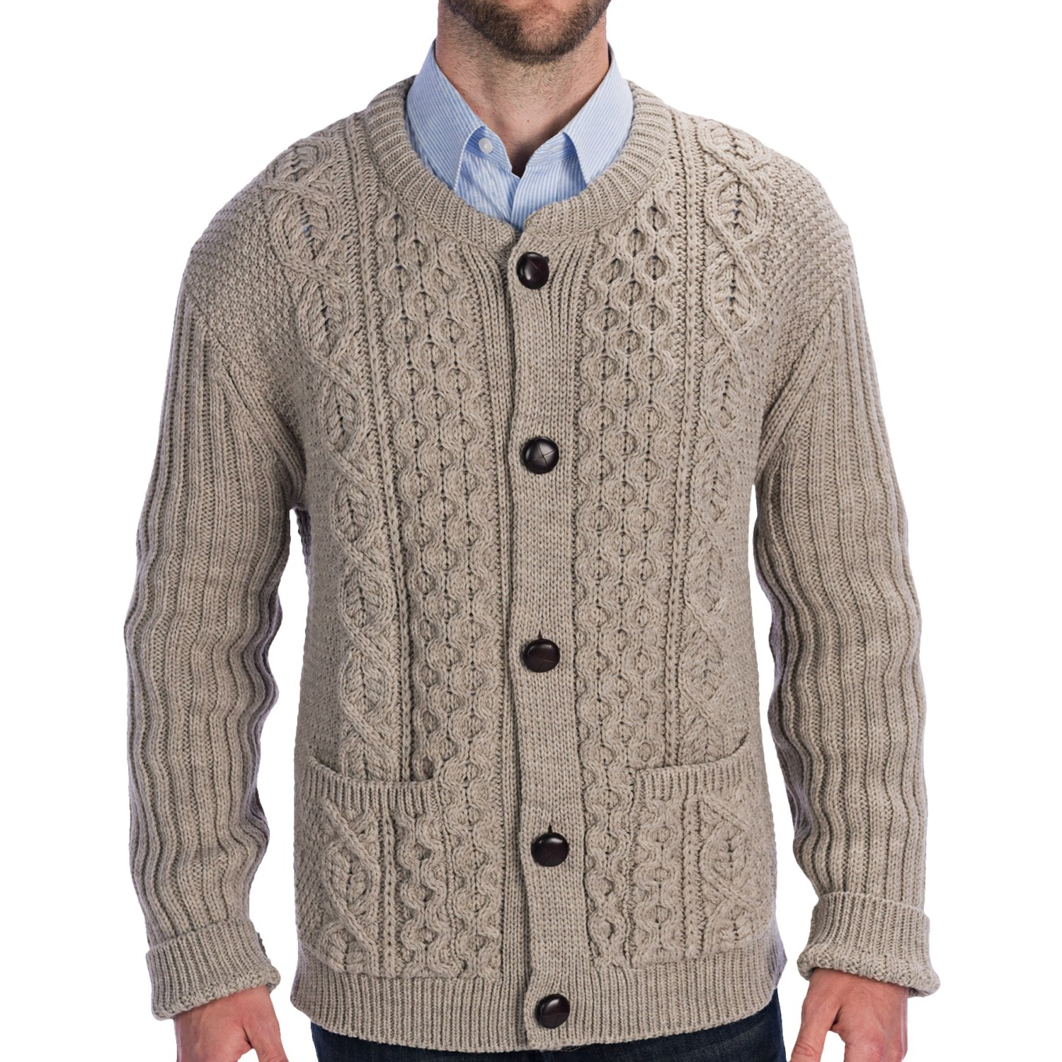 Mens Wool Cardigan Sweater Sale - Gray Cardigan Sweater