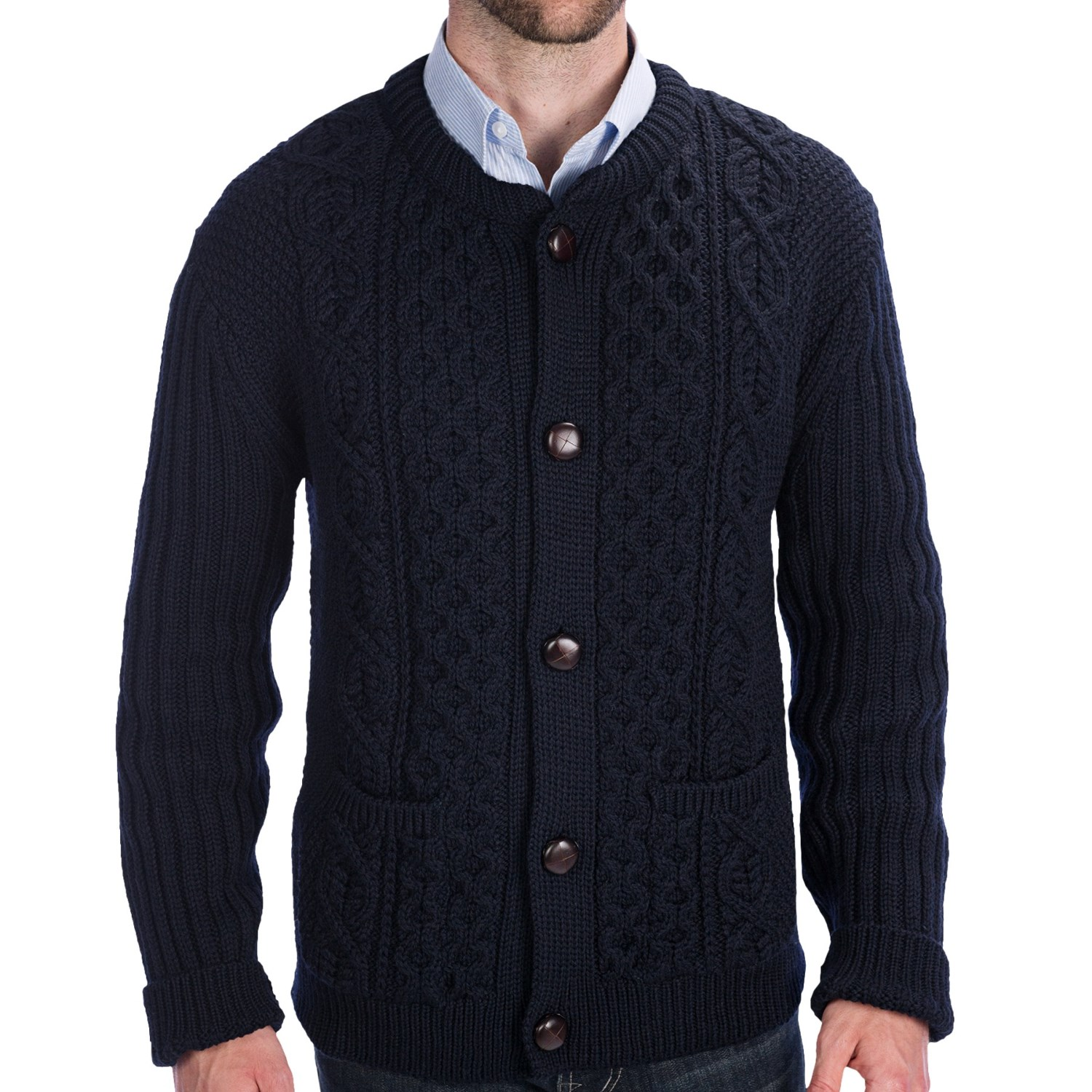 Navy Wool Cable Knit Cardigan 53