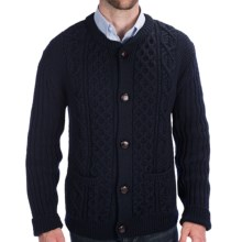 Peregrine by J.G. Glover Cable-Knit Crew Cardigan Sweater - Merino Wool (For Men) in Navy - Closeouts