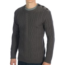 Peregrine by J.G. Glover Cable Sweater - Merino Wool, Button Shoulder (For Men) in Mole Grey - Closeouts