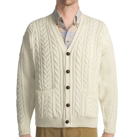 Peregrine by J.G. Glover Cardigan Sweater - Fine Wool (For Men) in Ecru