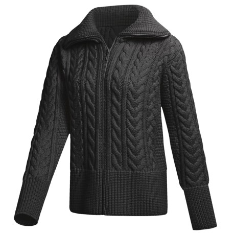 Peregrine by J.G. Glover Cardigan Sweater - Peruvian Merino Wool (For Women) in Charcoal