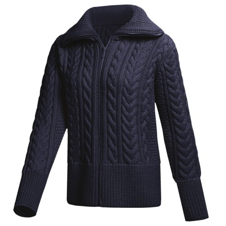Peregrine by J.G. Glover Cardigan Sweater - Peruvian Merino Wool (For Women) in Navy