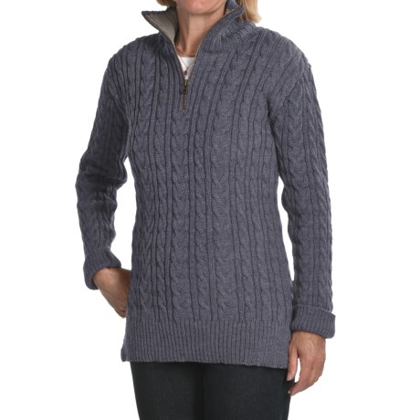 Peregrine by J.G. Glover Cardigan Sweater - Peruvian Merino Wool, Zip Neck (For Women) in Denim