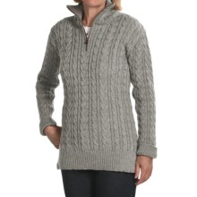 Peregrine by J.G. Glover Cardigan Sweater - Peruvian Merino Wool, Zip Neck (For Women) in Light Grey - Closeouts