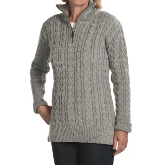 Peregrine by J.G. Glover Cardigan Sweater - Peruvian Merino Wool, Zip Neck (For Women) in Light Grey
