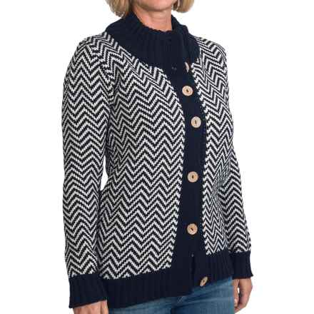 Peregrine by J.G. Glover Chevron Cardigan Sweater - Peruvian Merino Wool (For Women) in Navy/Ecru - Closeouts