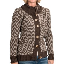 Peregrine by J.G. Glover Chevron Cardigan Sweater - Peruvian Merino Wool (For Women) in Seargent/Cobble - Closeouts