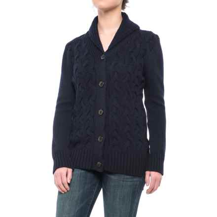 Peregrine by J.G. Glover Corden Shawl Cardigan Sweater - Merino Wool (For Women) in Navy - Closeouts