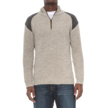 Peregrine by J.G. Glover Dave Sweater - Merino Wool, Zip Neck (For Men) in Light Grey - Closeouts