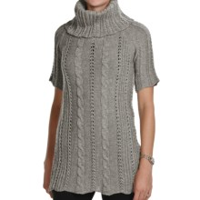 Peregrine by J.G. Glover Fancy Cable Sweater - Merino Wool, Cowl Neck (For Women) in Grey - Closeouts