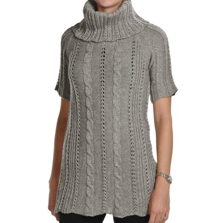 Peregrine by J.G. Glover Fancy Cable Sweater - Merino Wool, Cowl Neck (For Women) in Taupe