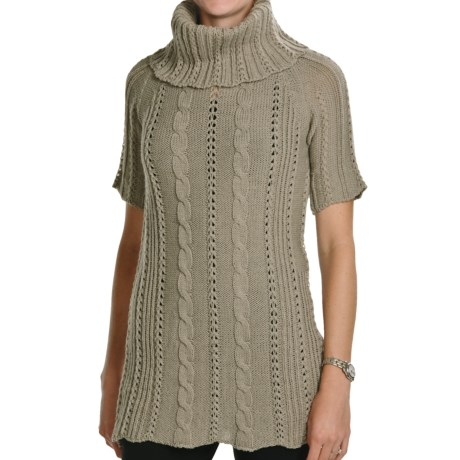 Peregrine by J.G. Glover Fancy Cable Sweater - Merino Wool, Cowl Neck, Short Sleeve (For Women) in Taupe