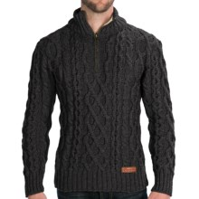 Peregrine by J.G. Glover Fisherman Sweater - Merino Wool, Zip Neck (For Men) in Charcoal - Closeouts