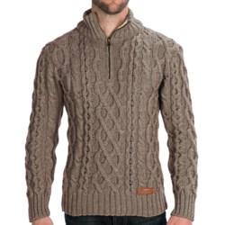 Peregrine by J.G. Glover Fisherman Sweater - Merino Wool, Zip Neck (For Men) in Granite