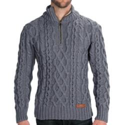 Peregrine by J.G. Glover Fisherman Sweater - Merino Wool, Zip Neck (For Men) in Dirty White