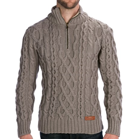 Peregrine by J.G. Glover Fisherman Sweater - Merino Wool, Zip Neck (For Men) in Granite