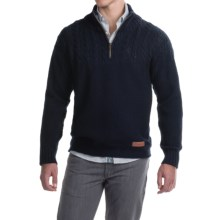 Peregrine by J.G. Glover Guernsey Sweater - Merino Wool, Zip Neck (For Men) in Navy - Closeouts