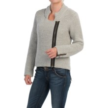 Peregrine by J.G. Glover Knit Biker Jacket - Peruvian Merino Wool (For Women) in Light Grey - Closeouts