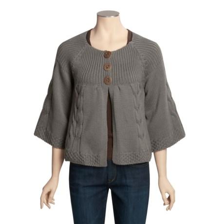 Peregrine by J.G. Glover Merino Wool Cardigan Sweater - Swing, 3/4 Sleeve (For Women) in Med Grey