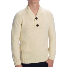 Peregrine by J.G. Glover Merino Wool Sweater - Button Neck (For Men) in Ecru - Closeouts