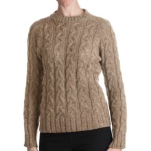 Peregrine by J.G. Glover Merino Wool Sweater - Cable Crew (For Women) in Beige - Closeouts