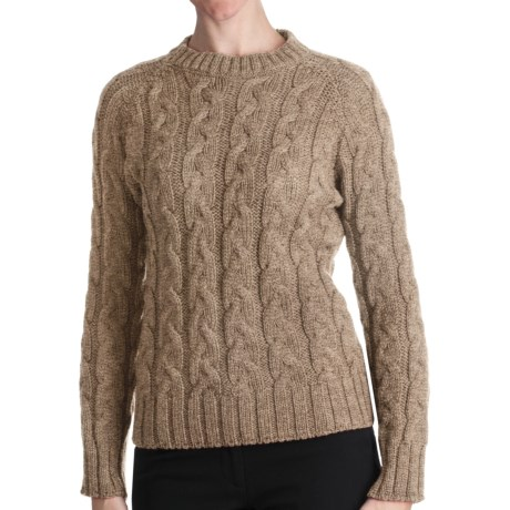 Peregrine by J.G. Glover Merino Wool Sweater - Cable Crew (For Women) in Beige