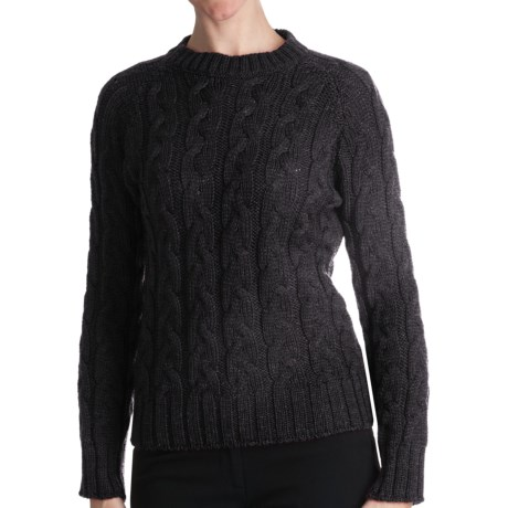 Peregrine by J.G. Glover Merino Wool Sweater - Cable Crew (For Women) in Charcoal