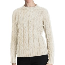 Peregrine by J.G. Glover Merino Wool Sweater - Cable Crew (For Women) in Ecru