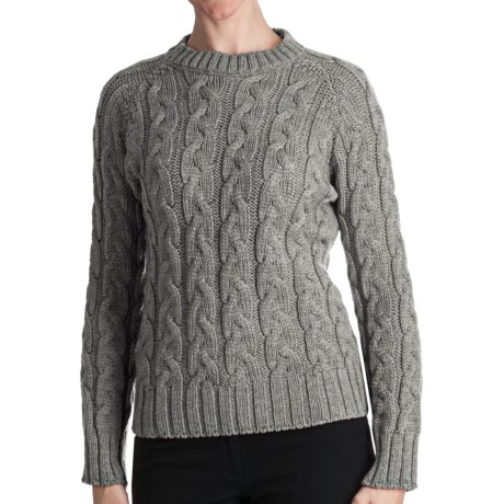 Peregrine by J.G. Glover Merino Wool Sweater - Cable Crew (For Women) in Grey