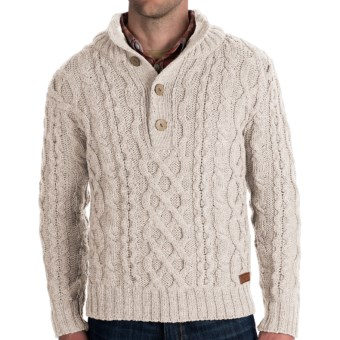 Peregrine by J.G. Glover Merino Wool Sweater - Chunky Cable (For Men) in Beige