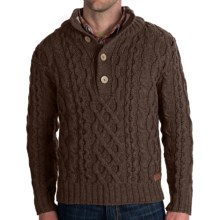 Peregrine by J.G. Glover Merino Wool Sweater - Chunky Cable (For Men) in Brown - Closeouts