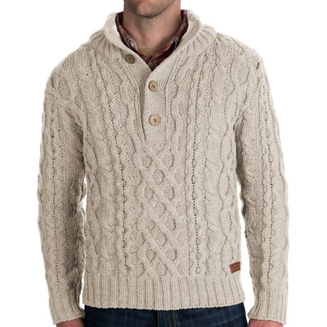 Peregrine by J.G. Glover Merino Wool Sweater - Chunky Cable (For Men) in Dirty White