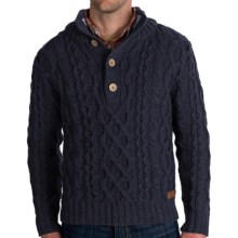 Peregrine by J.G. Glover Merino Wool Sweater - Chunky Cable (For Men) in Navy - Closeouts