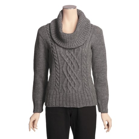 Peregrine by J.G. Glover Merino Wool Sweater - Cowl Neck (For Women) in Grey