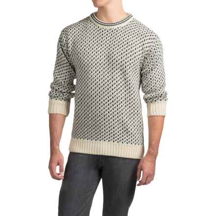 Peregrine by J.G. Glover Nordic Sweater - Merino Wool (For Men) in Ecru/Navy Fleck - Closeouts