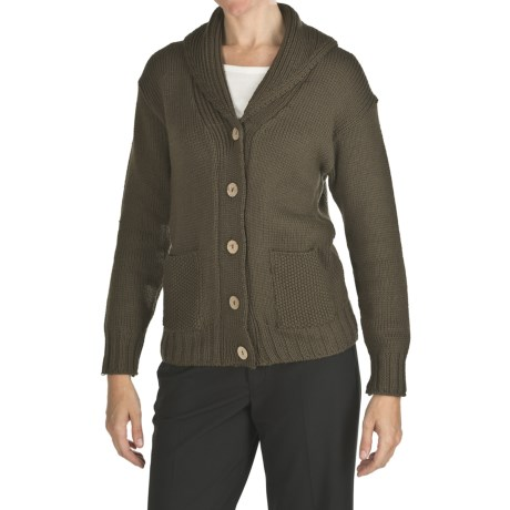 Peregrine by J.G. Glover Peruvian Merino Wool Cardigan Sweater (For Women) in Khaki