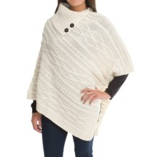 Peregrine by J.G. Glover Poncho Sweater - Peruvian Merino Wool, Button Neck (For Women) in Ecru - Closeouts