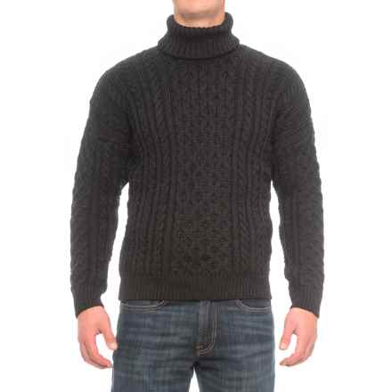 Peregrine by J.G. Glover Turtleneck Aran Sweater - Merino Wool (For Men) in Charcoal - Closeouts