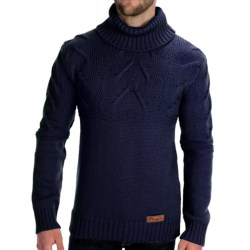 Peregrine by J.G. Glover Turtleneck Cable Sweater - Merino Wool (For Men) in Navy