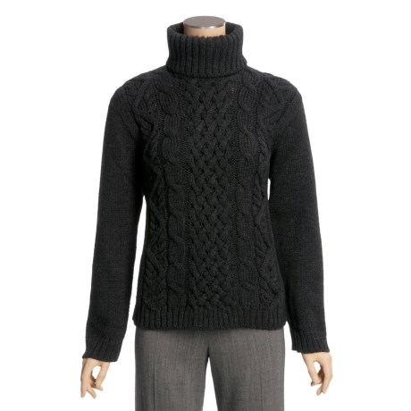 Peregrine by J.G. Glover Turtleneck Sweater - Peruvian Merino Wool (For Women) in Charcoal