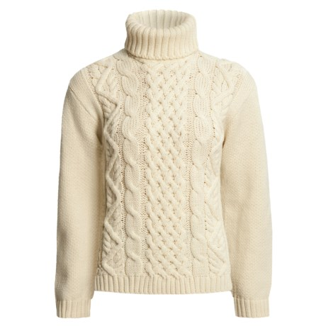 Peregrine by J.G. Glover Turtleneck Sweater - Peruvian Merino Wool (For Women) in Ecru