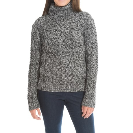 Peregrine by J.G. Glover Turtleneck Sweater - Peruvian Merino Wool (For Women) in Humbug