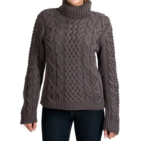 Peregrine by J.G. Glover Turtleneck Sweater - Peruvian Merino Wool (For Women) in Charcoal